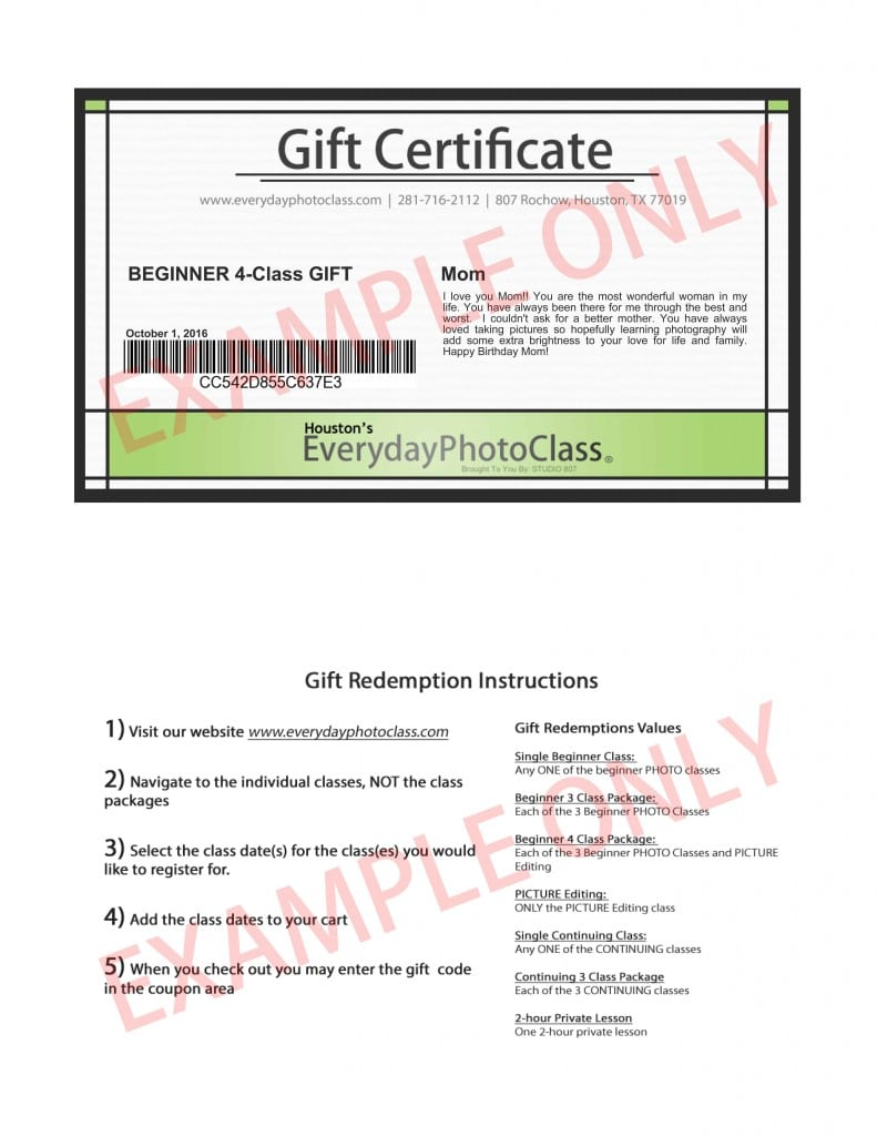 GIFT CERTIFICATE NEW EXAMPLE